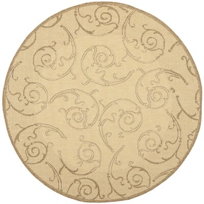 Alberty Natural & Brown Indoor/Outdoor Area Rug Rug Size: Round 67