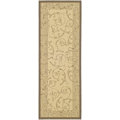 Alberty Natural & Brown Indoor/Outdoor Area Rug Rug Size: Rectangle 27 x 5