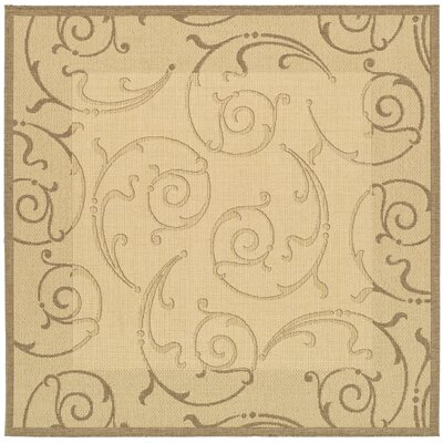 Alberty Natural & Brown Indoor/Outdoor Area Rug Rug Size: Square 710
