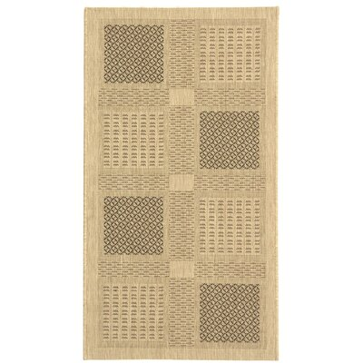 Halvorsen Sand/Black Outdoor Rug Rug Size: Rectangle 53 x 77