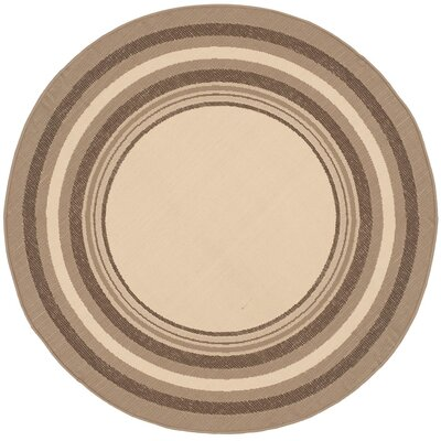Alderman Beige/Dark Beige Indoor/Outdoor Rug Rug Size: Round 53