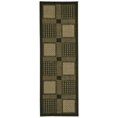 Isaiah Black/Sand Outdoor Rug Rug Size: Runner 24 x 67