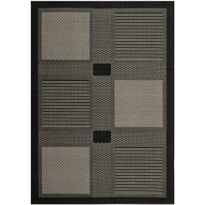 Halvorsen Black/Sand Outdoor Rug Rug Size: Rectangle 53 x 77
