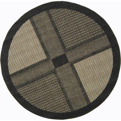 Halvorsen Black/Sand Outdoor Rug Rug Size: Round 67