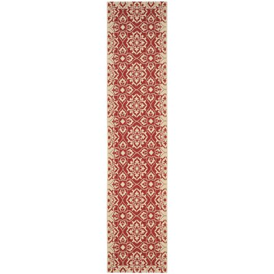 Lynn Red/Creme Outdoor Area Rug Rug Size: Runner 23 x 10