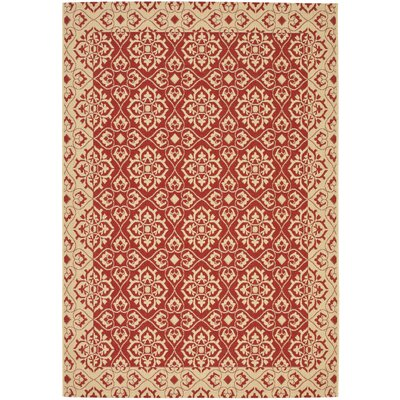 Lynn Red/Creme Outdoor Area Rug Rug Size: Rectangle 53 x 77
