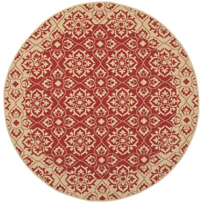 Lynn Red/Creme Outdoor Area Rug Rug Size: Round 53
