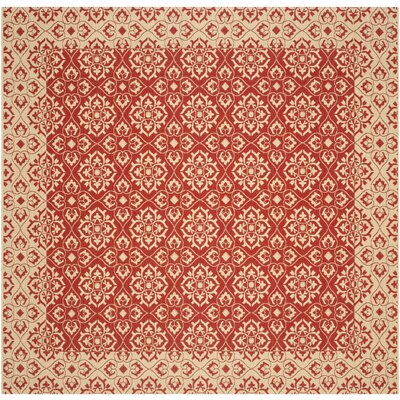 Lynn Red/Creme Outdoor Area Rug Rug Size: Square 710