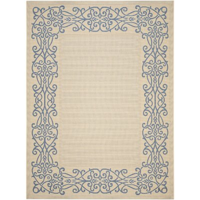Meriline Ivoly/Blue Outdoor Area Rug Rug Size: Rectangle 53 x 77