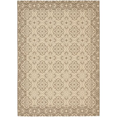 Lynn Creme/Brown Outdoor Area Rug Rug Size: 53 x 77