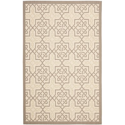 Poole Cream/Brown Indoor/Outdoor Area Rug Rug Size: Rectangle 4 x 57