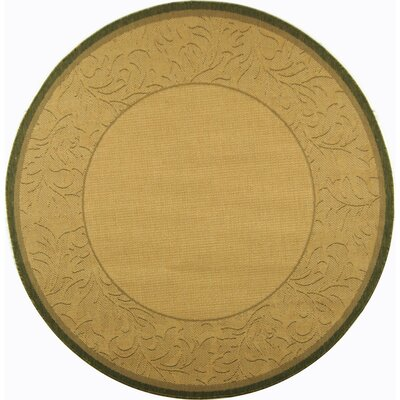 Fenmore Neutral Floral Border Outdoor Rug Rug Size: Round 67