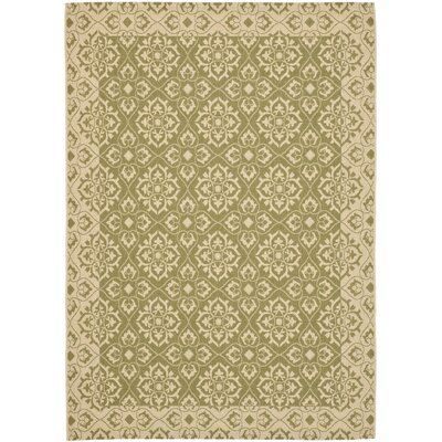 Lynn Green/Creme Outdoor Area Rug Rug Size: Rectangle 67 x 96