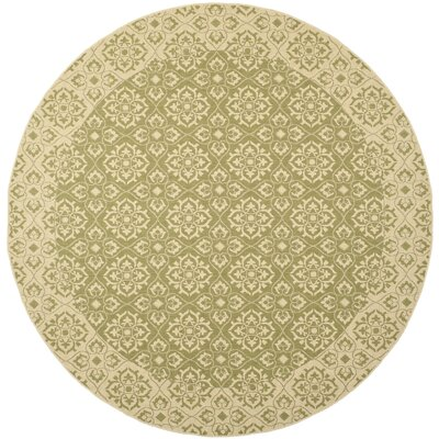 Lynn Green/Creme Outdoor Area Rug Rug Size: Round 710