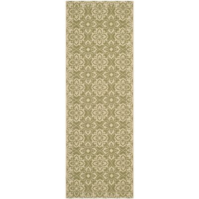 Lynn Green/Creme Outdoor Area Rug Rug Size: Rectangle 27 x 5