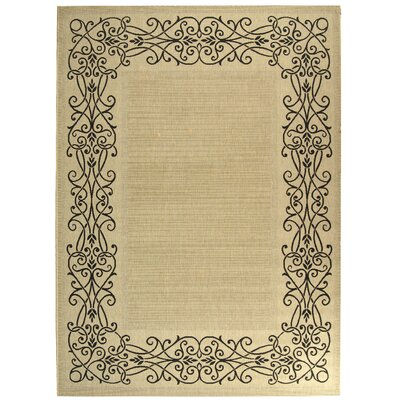 Meriline Ocean Sand/Black Outdoor Area Rug Rug Size: Rectangle 2 x 37