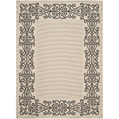 Meriline Ocean Sand/Black Outdoor Area Rug Rug Size: Rectangle 4 x 57