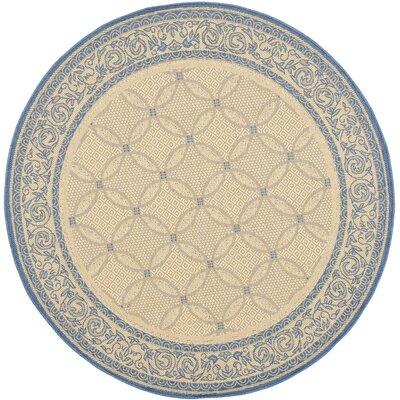 Beasley Garden Gate Ivory/Navy blue Rug Rug Size: Round 67