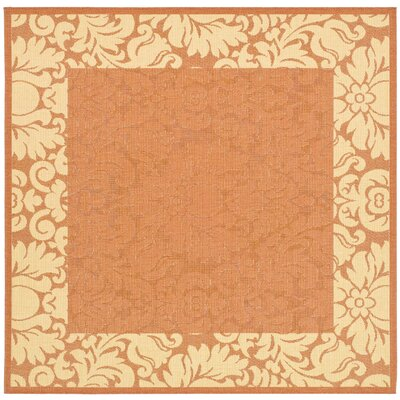 Marland Terracotta/Natural Outdoor Area Rug Rug Size: Square 67