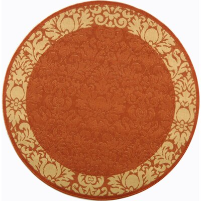 Marland Terracotta/Natural Outdoor Area Rug Rug Size: Round 53
