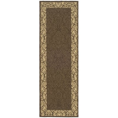 Marland Chocolate/Tan Outdoor Area Rug Rug Size: Runner 24 x 911