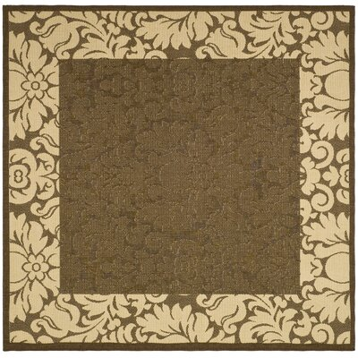 Marland Chocolate/Natural Outdoor Area Rug Rug Size: Square 710