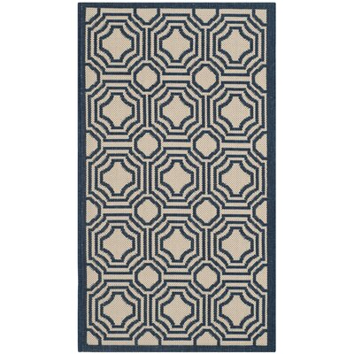 Poole Beige/Navy Indoor/Outdoor Rug Rug Size: Rectangle 2 x 37