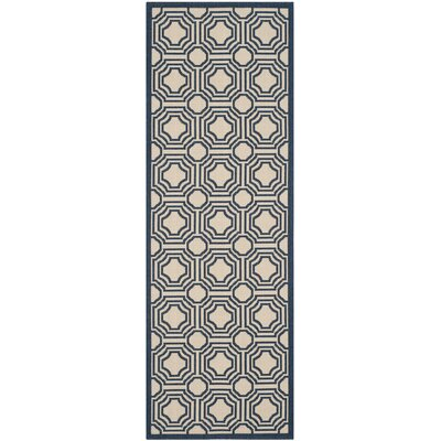 Poole Beige/Navy Indoor/Outdoor Rug Rug Size: Runner 23 x 67