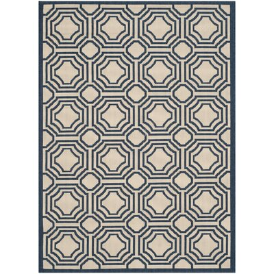 Poole Beige/Navy Indoor/Outdoor Rug Rug Size: Rectangle 4 x 57