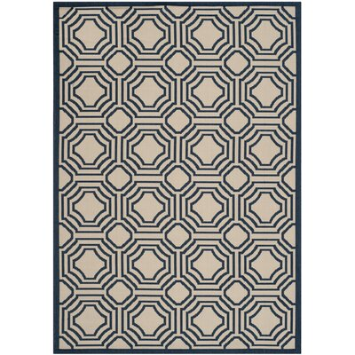 Poole Beige/Navy Indoor/Outdoor Rug Rug Size: 53 x 77