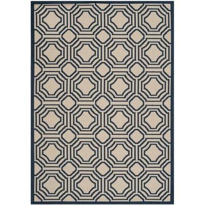 Poole Beige/Navy Indoor/Outdoor Rug Rug Size: Rectangle 53 x 77