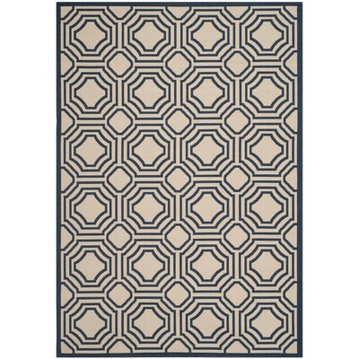 Poole Beige/Navy Indoor/Outdoor Rug Rug Size: 67 x 96