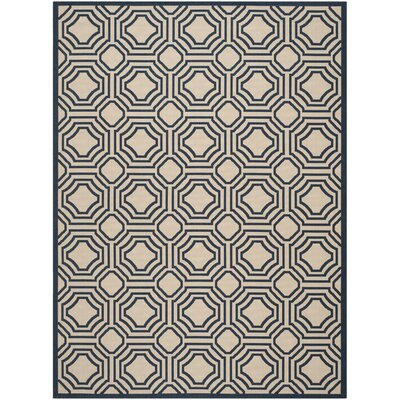 Poole Beige/Navy Indoor/Outdoor Rug Rug Size: Rectangle 8 x 11