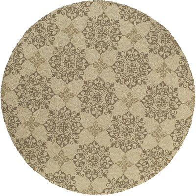St James Hand-Hooked Beige Indoor/Outdoor Area Rug Rug Size: Round 9