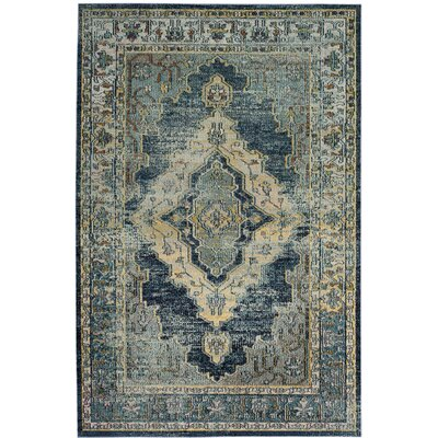 Michiana Blue/Yellow Area Rug Rug Size: Round 7