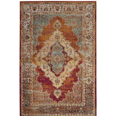 Michiana Orange/Light Blue Area Rug Rug Size: Square 5