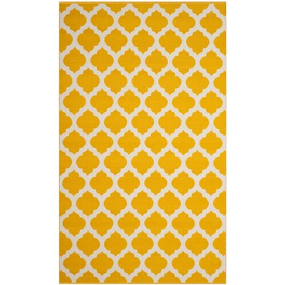 Willow Hand-Woven Yellow/Ivory Area Rug Rug Size: 5 x 8