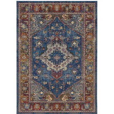 Raabe Blue/Rose Area Rug Rug Size: Square 7