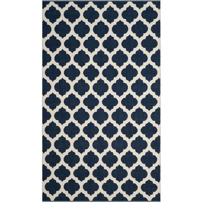 Willow Hand-Woven Navy/Ivory Area Rug Rug Size: Square 6