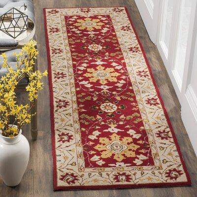 Driffield Hand-Hooked Red / Ivory Area Rug Rug Size: Runner 26 x 10