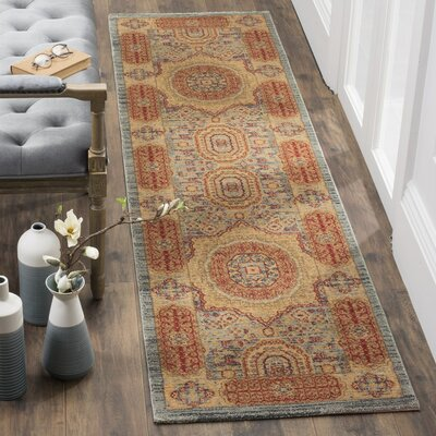 Oren Navy/Red Area Rug Rug Size: Runner 22 x 8