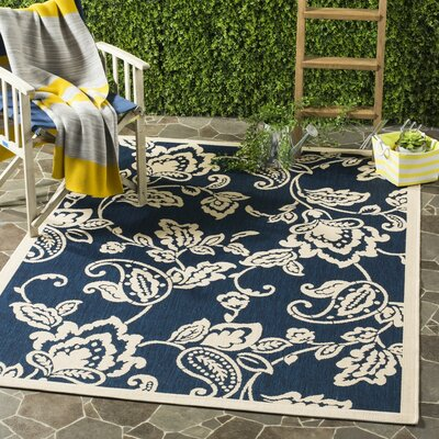 Berrima Navy/Beige Area Rug Rug Size: Rectangle 4 x 57