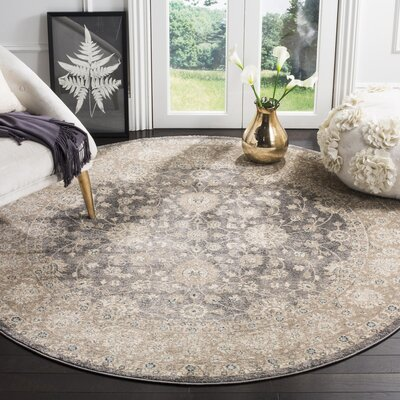 Sofia Power Loom Synthetic Beige/Gray Area Rug Rug Size: Round 67