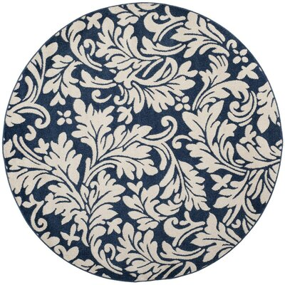 Neil Navy/Ivory Indoor/Outdoor Area Rug Rug Size: Round 7 x 7