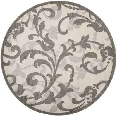 Neil Ivory/Gray Indoor/Outdoor Area Rug Rug Size: Round 7 x 7