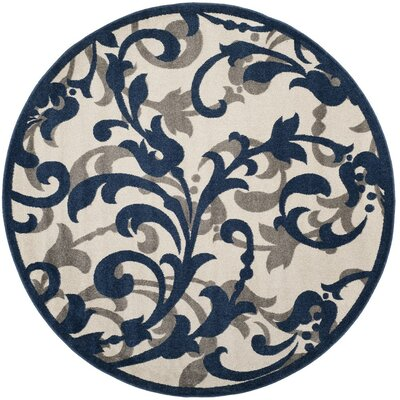 Ranger Ivory/Navy Indoor/Outdoor Area Rug Rug Size: Round 7' x 7'