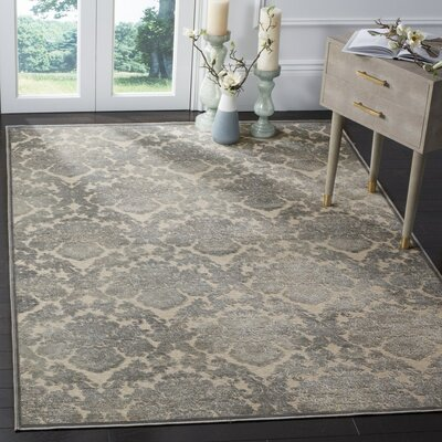 Orville Cream/Blue Area Rug Rug Size: 53 x 76