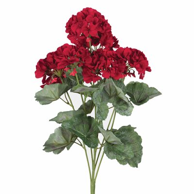 Silk Artificial Geranium Flowers Flower Color: Red