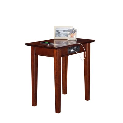 Oliver Side Table with Charging Station Finish: Walnut