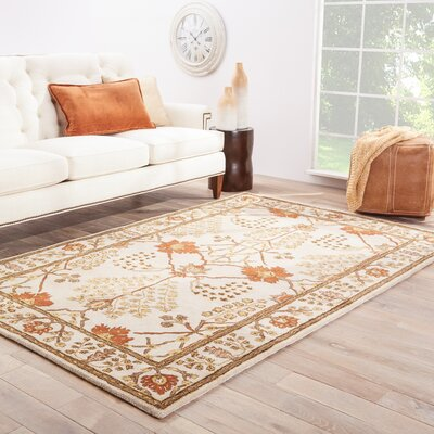 Trinningham Hand-Woven Wool Gold/Rust Red/Brown Wool Area Rug Rug Size: Rectangle 5 x 8